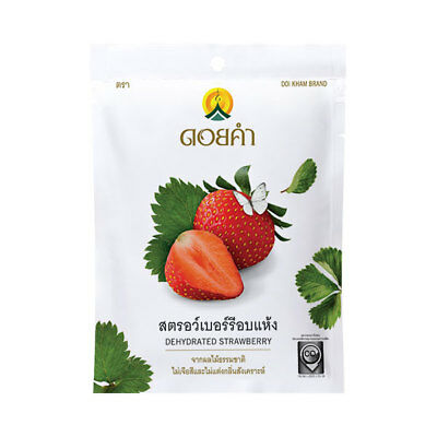 Dehudrated Strawberry, Fruit Snack, Natural 100%, Doi Kham Brand, Natural Color