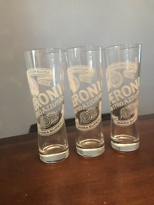 Set of 3 Peroni Nastro Azzuro Birra Frosted Etched Beer Glasses Italy