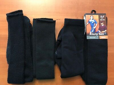 ~LESS THAN $3 pr W/ shipping!~ 4 Pair LOT:  YOUTH SOCCER SOCKS: BLACK (S)