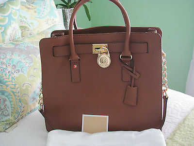 Michael Kors X-Large Hamilton  East West Shoulder Bag In Dark Tan Saffiano