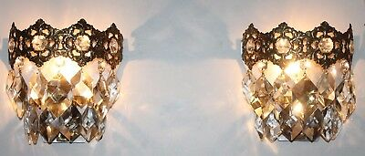 Two Pair Antique Empire Bronze Wall Chandelier Sconces Lamps Crystal Lustre Rare