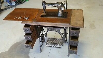 Antique Singer Sewing Cabinet With 1910 Singer Redeye Treadle Machine