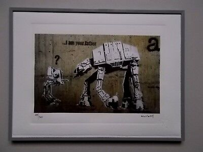 """Lithographie  Banksy   """" I Am Your Father """"  Tirage 300 Ex , Street Art Graffiti"""