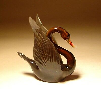 "Blown Glass Figurine ""Murano"" Small Bird SWAN"