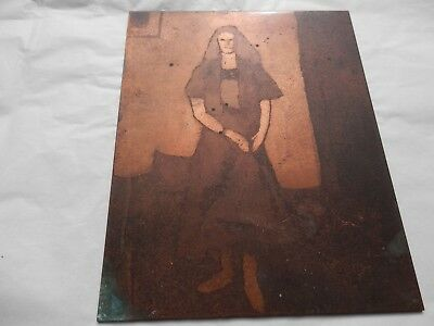 Vintage Copper Etched Printing Plate Women In Room.