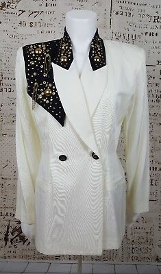 Womens Ivory Black Studded 80s 90s Double Breasted Blazer Shoulder Pads Size 8