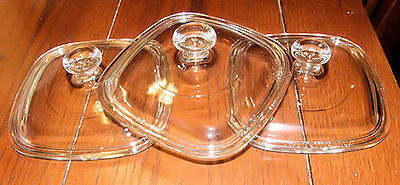 3 NEW Replacement Corning Ware Pyrex Glass Lids FIT ALL Petite Pans P41 & P43 MC