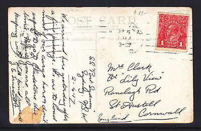 KGV 1d RED ON POSTCARD OF CREMORNE MOSMAN'S BAY SYDNEY TO CORNWALL ENGLAND