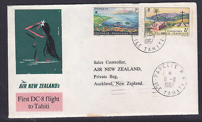 F.f.c :  French Polynisia  1967 Dc'8 Flight Tahiti To Auckland Nz