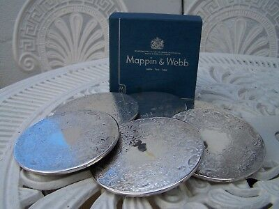 Set Of 6 Silver Plate Vintage Coasters By Mappin & Webb With Box