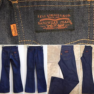 "Vintage Levi's Hardware Jeans Double Knee Bell Bottom 70s 22 1/2"" Waist"