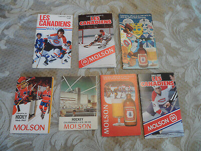 lot of 7 MONTREAL CANADIENS HOCKEY SCHEDULE NHL MOLSON, 1966-67,68-69,73-7475-76