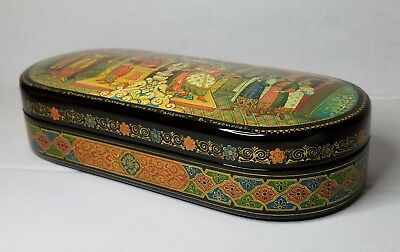 """Mstera Russian Lacquer Box """"Russian Medieval Court """""""