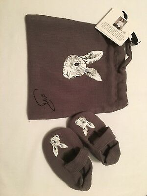 Victoria Beckham designer Gray Bunny Booties Baby Shoes Newborn Sz 6-12 mo NWT