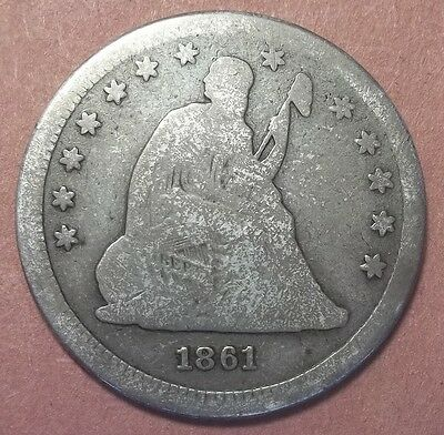 1861 Seated Liberty Quarter Lot JUQ39a