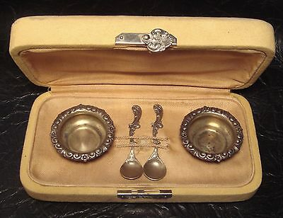 Antique Sterling Silver Salt Spoons Cellars