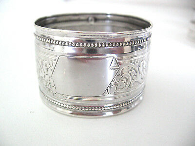Beautiful French sterling silver napkin ring with no monogram.  Minerva mark