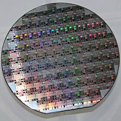 "6"" Silicon Wafer from Dallas Semiconductor with small test patterns and mosfet"