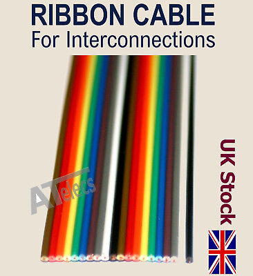 RIBBON JUMPER CABLE  For Interconnections   Coloured Flat  10 way / 20 way  - UK