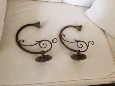 Antique Pair Of Art Nouveau Brass Piano Wall Sconce Candleholders