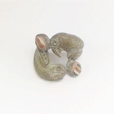 Rare medieval heart medieval 2 lover parrot mosic glas old bronze ring size 6.5