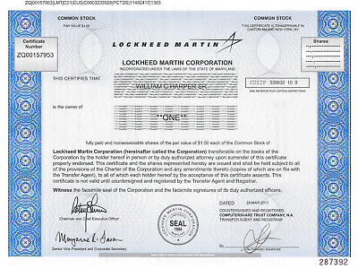 Lockheed Martin > aerospace defense security technology stock certificate