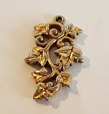 Superb solid gold tone ivy leaf pendant. Metal detecting beach find