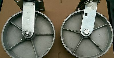 """(Pack of 4) Plate Casters with 8"""" Cast Iron Solid Wheels 2 Fixed and 2 Swivel"""