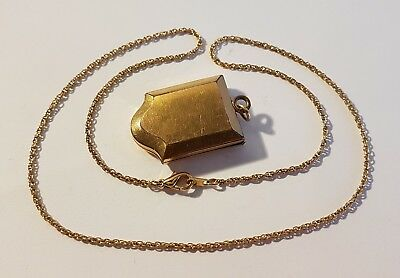 Superb antique gold tone locket & chain holding a secret? Metal detecting find.
