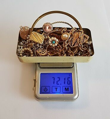 Very large job lot untested 72.16g scrap gold tone metal detecting finds.