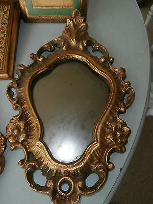 Rare Italian Rococo  Gold Leaf Carved Floral Wood Mirror Stunning