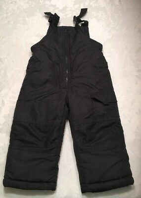 London Fog Bib Snow Pants Size 2T Boys Girls Kids Black Toddler Unisex