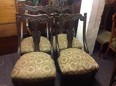 Set Of 4 Antique Edwardian Dining Chairs  For Restoration