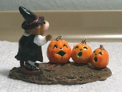 Wee Forest Folk Witch with Singing Pumpkins