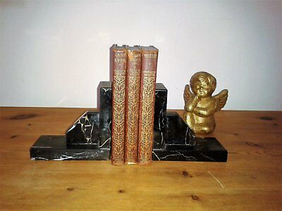 French Vintage Art Deco Marble Book Ends