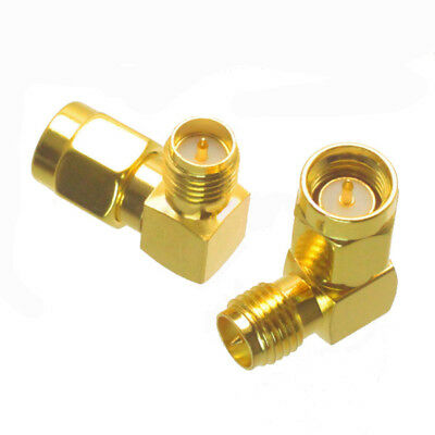 2 PCS SMA Male to RP-SMA Female Right Angle RF Adapter Connector SMA-J to RP-SMA