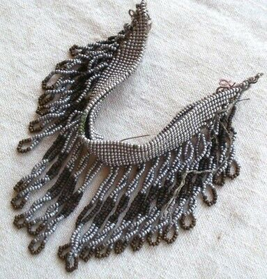 Antique Steel Cut Torse Fringe #6 Textile Micro Beaded French Victorian Remnant