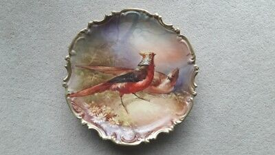 Hand painted, Limoges pheasant charger plate signed by artist