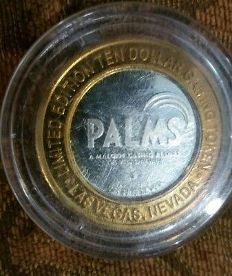 Limited Edition Ten Dollar $10  PALMS PEARL .999 Pure Silver Gaming Token