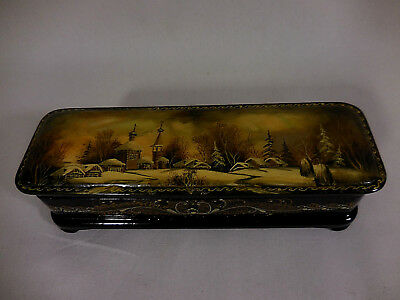 """Russian Lacquer Trinket Box Snow Village Scene 7.5"""" X 2.5"""" Hinged Footed"""