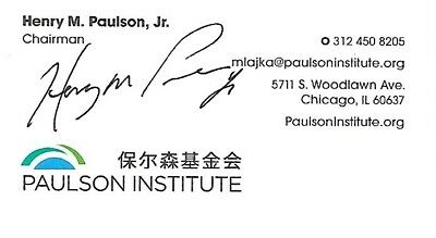 Signed Business Card, Henry Paulson Former Secretary Of The Treasury