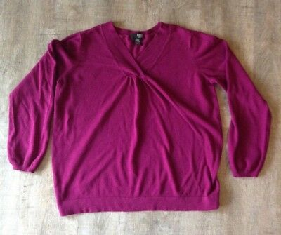 a.n.a Maternity Large Purple Long Sleeve Knit Top blouse