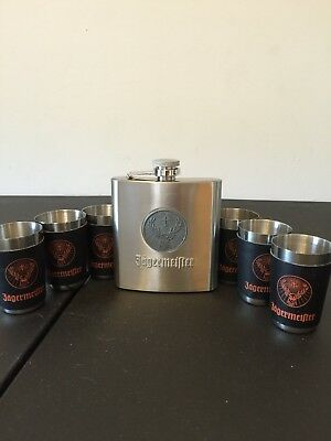 Jagermeister Flask With Shot Glasses