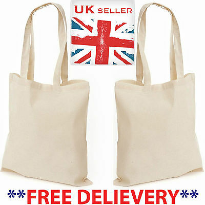 1-50 PACK Cotton Sling Tote Shopping Bag Simple Plain Carrier Bag for Life Lot