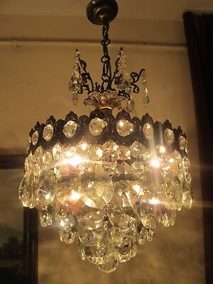 Antique Vintage Big French  Basket Style Crystal Chandelier Lamp 1940's.14 in