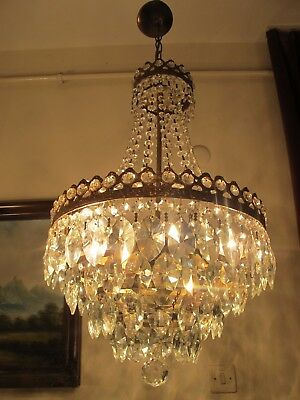 Antique Vnt.French Basket Style Crystal Chandelier Lamp Light 1940's.14 in RARE