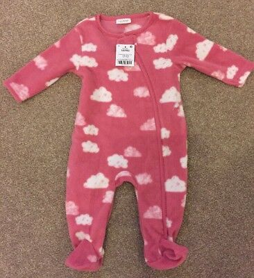 Baby Girl Pink Next Sleepsuit 3-6 Month Zip Front New With Tags, Long Sleeve