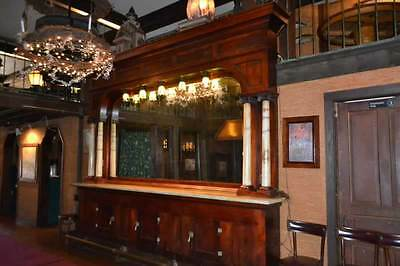 Antique early 1900's Soda Back Bar Drug Store Theater  Marble Columns & Counter