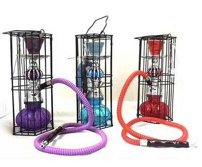 Hookah Single Hose Glass Water Pipe Vase With Metal Case