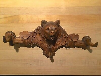 Antique Wooden Swiss Black Forest Carved Bear Coat/Hat Rack